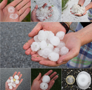 Sizes of Hail Stones